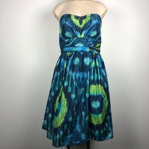 Eliza J Blue Ikat Strapless Sweetheart Dress